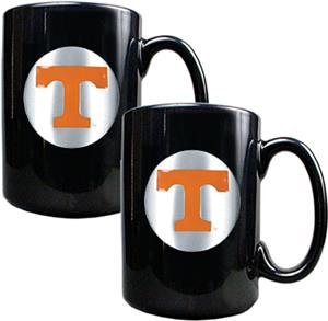 NCAA U of Tennessee Black Ceramic Mug (Set of 2)
