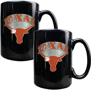 NCAA Texas Longhorns Black Ceramic Mug (Set of 2)