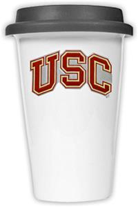 NCAA USC Trojans Ceramic Cup w/Black Lid