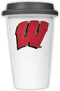 NCAA Wisconsin Badgers Ceramic Cup w/Black Lid