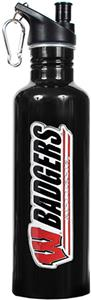 NCAA Wisconsin Badgers Black Water Bottle