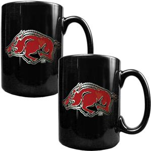 NCAA Arkansas Black Ceramic Mug (Set of 2)