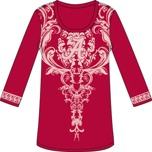 Alabama Crimson L/S Satin Trim Tunic Nightshirt
