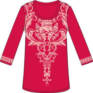 Arkansas Razorback L/S Satin Trim Tunic Nightshirt