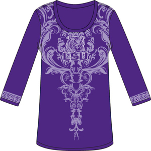 LSU Tigers L/S Satin Trim Tunic Nightshirt