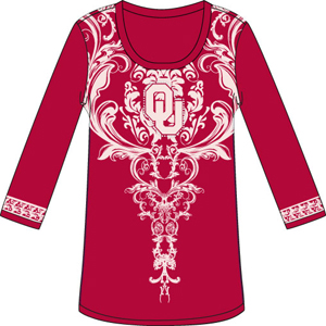 Oklahoma Sooners L/S Satin Trim Tunic Nightshirt