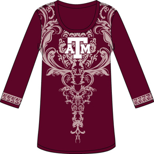 Texas A&M Aggies L/S Satin Trim Tunic Nightshirt