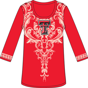 Texas Tech L/S Satin Trim Tunic Nightshirt
