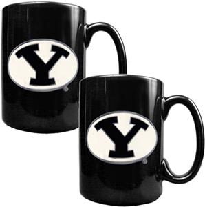 NCAA Brigham Young Black Ceramic Mug (Set of 2)