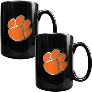 NCAA Clemson Tigers Black Ceramic Mug (Set of 2)