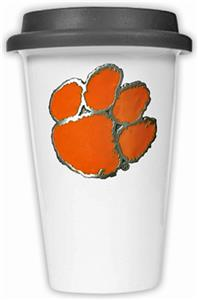 NCAA Clemson Tigers Ceramic Cup w/Black Lid