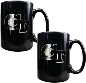 NCAA Georgia Tech Black Ceramic Mug (Set of 2)