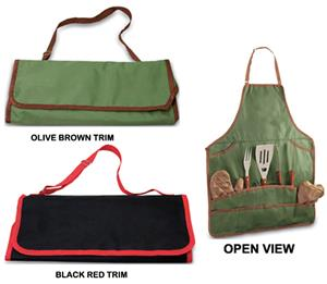 Picnic Time Full-Sized Apron Tote w/ BBQ Tool Set