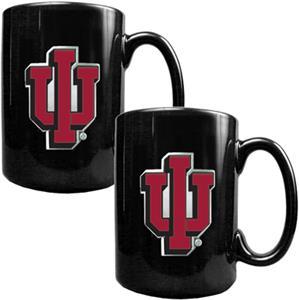 NCAA Indiana Hoosiers Black Ceramic Mug (Set of 2)