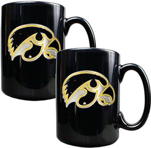 NCAA Iowa Hawkeyes Black Ceramic Mug (Set of 2)