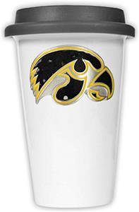NCAA Iowa Hawkeyes Ceramic Cup w/Black Lid