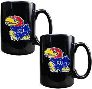 NCAA Kansas Jayhawks Black Ceramic Mug (Set of 2)
