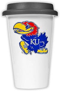 NCAA Kansas Jayhawks Ceramic Cup w/Black Lid