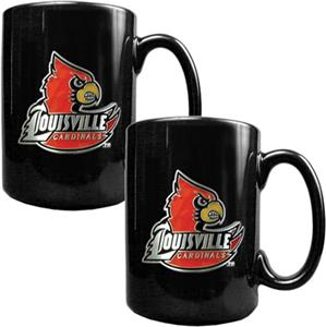 NCAA Louisville Black Ceramic Mug (Set of 2)