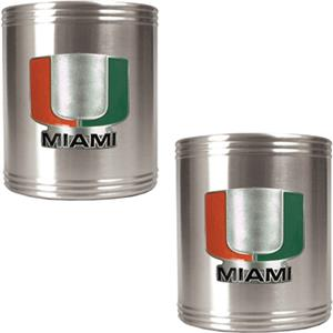 NCAA Miami Hurricanes Stainless Steel Can Holders