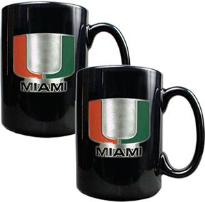 NCAA Miami Hurricanes Ceramic Mug (Set of 2)