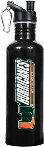 NCAA Miami Hurricanes Black Water Bottle