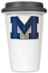 NCAA Michigan Wolverines Ceramic Cup w/Black Lid