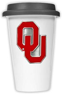 NCAA Oklahoma Sooners Ceramic Cup w/Black Lid