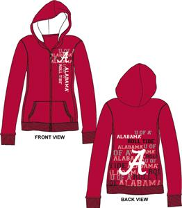 Alabama Univ Womens Flocked Zip Hoody
