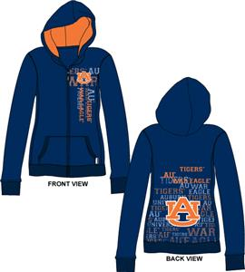 Auburn Tigers Womens Flocked Zip Hoody