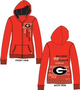 Georgia Bulldogs Womens Flocked Zip Hoody