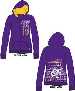 Emerson Street LSU Tigers Womens Flocked Zip Hoody