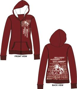 Mississippi State Womens Flocked Zip Hoody