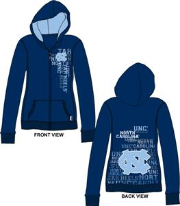 North Carolina Womens Flocked Zip Hoody