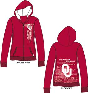 Oklahoma Sooners Womens Flocked Zip Hoody