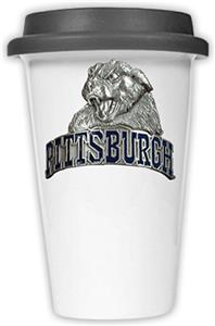 NCAA Pittsburgh Panthers Ceramic Cup w/Black Lid
