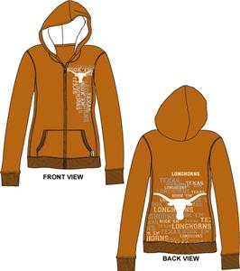 Texas Longhorns Womens Flocked Zip Hoody