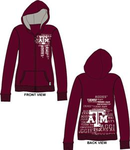 Texas A&amp;M Aggies Womens Flocked Zip Hoody