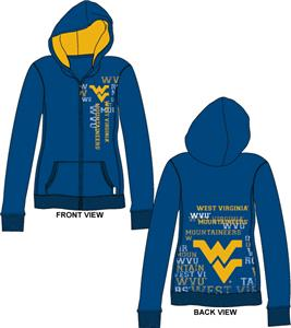 West Virginia Womens Flocked Zip Hoody