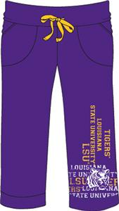 LSU Tigers Womens Flocked Drawstring Pants