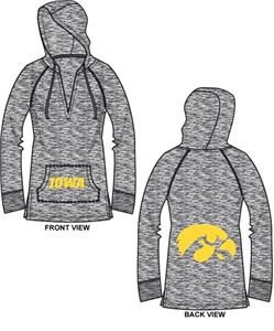 Iowa Hawkeyes Womens Burnout Pullover Hoody