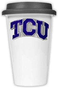 NCAA Texas Christian Ceramic Cup w/Black Lid
