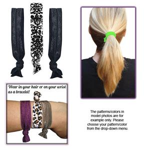 Damask/Black No-Tug Elastic Hair Ties/Bracelets