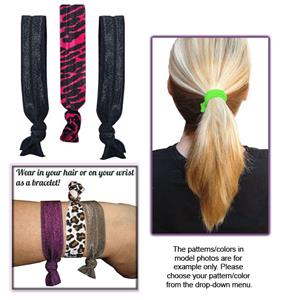 Fuchsia Zebra No-Tug Elastic Hair Ties/Bracelets