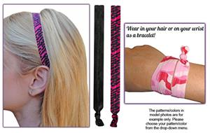 Fuchsia Hot Pink Zebra Elastic Headband SET