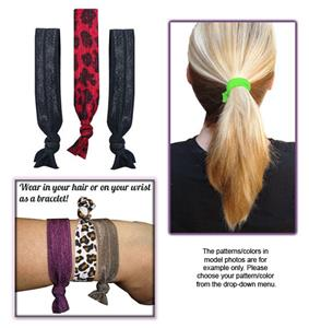 Animal Print/Black Elastic Hair Ties/Bracelets