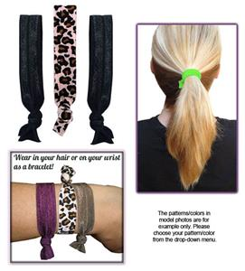 Pink Leopard/Black Elastic Hair Ties/Bracelets