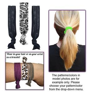 Paisley Print/Black Elastic Hair Ties/Bracelets