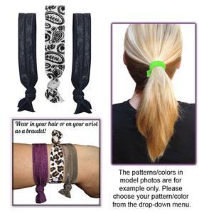 Paisley Print/Black Elastic Hair Ties/Bracelets