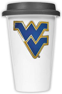 NCAA West Virginia Ceramic Cup w/Black Lid